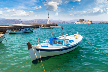Bourtzi fortress in Greece, Nafplion in a beautiful summer day Stock Photo