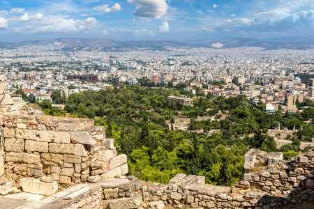 View of temple of Hephaestus from Acropolis hill in a beautiful summer day in Athens, Greece Stock Photo