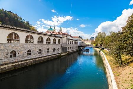 Ljubljana river in downtown in a summer day in Ljubljana, Slovenia