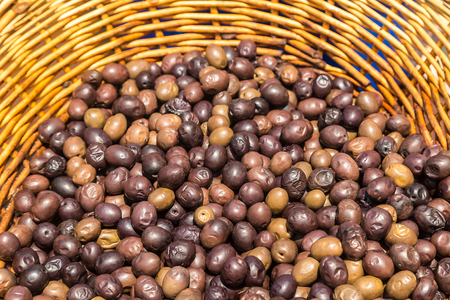 Background of ripe fresh olives in Greece