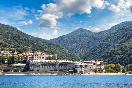 Xenophontos monastery on mount Athos in Greece in a summer day