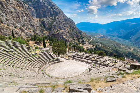 Ancient theater in Delphi, Greece in a summer day Editorial