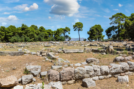 Ruins of ancient temple in Epidavros, Greece in a summer day Stock Photo