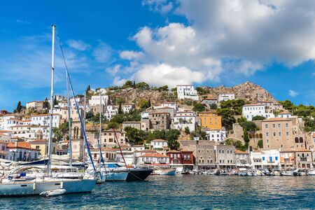 Boats at Hydra island in a summer day in Greece