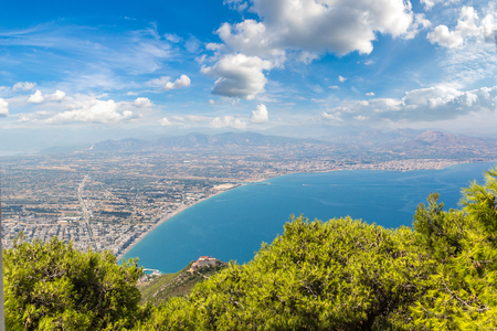 Panoramic view of Loutraki and Aegean sea, Greece in a summer day