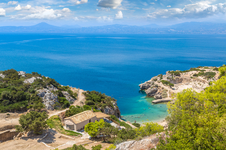 Panoramic landscape of the Sanctuary of Hera in a summer day in Greece Stock fotó