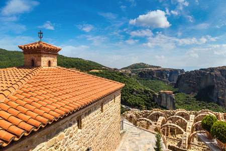Monasteries on the top of rock in a beautiful summer day  in Meteora, Greece Stock Photo