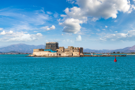 Bourtzi fortress in Greece, Nafplion in a beautiful summer day Editorial