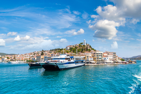 Ferry on Poros island in a summer day in Greece