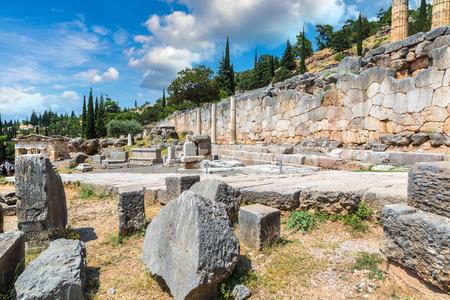 The Temple of Apollo in Delphi, Greece in a summer day