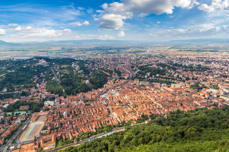 Panoramic view of Brasov city in a summer day in Transylvania, Romania