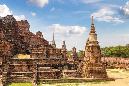 Ayutthaya Historical Park in Ayutthaya, Thailand in a summer day Stock Photo