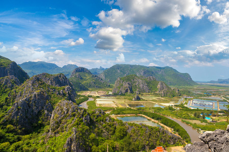 Panoramic aerial view of Khao Sam Roi Yot National Park, Thailand in a summer day Stock Photo