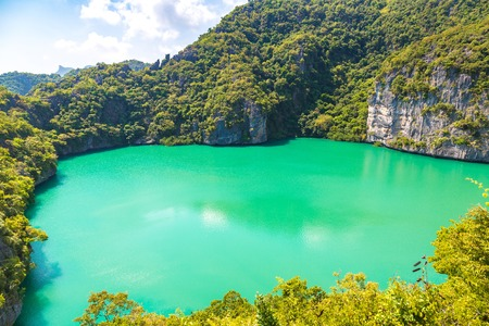 Thale Nai lagoon at Mae Koh island in Mu Ko Ang Thong National Park, Thailand in a summer day Zdjęcie Seryjne