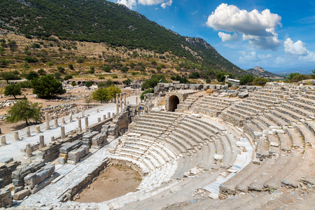 Odeon - small theater in ancient city Ephesus, Turkey in a beautiful summer day Editorial