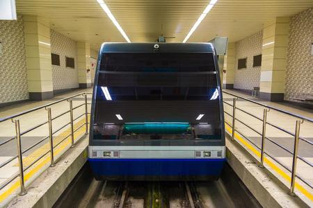 Modern tunnel funicular train in Istanbul in a summer day Redakční