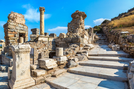 Ruins of the ancient city Ephesus, the ancient Greek city in Turkey, in a beautiful summer day Editorial