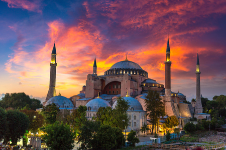 Ayasofya Museum (Hagia Sophia) in Sultan Ahmet park in Istanbul, Turkey in a beautiful summer night