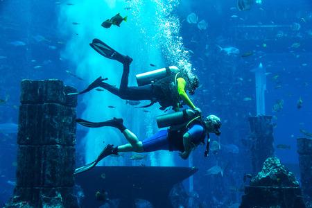 DUBAI, UAE - JUNE 26, 2018: Lost chambers - Large aquarium in Hotel Atlantis in Dubai, United Arab Emirates