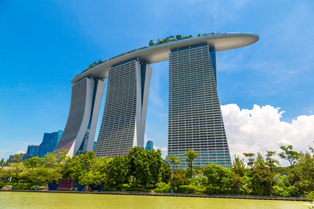 SINGAPORE - JUNE 23, 2018: Marina Bay Sands hotel in Singapore at summer day