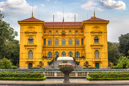 Ho Chi Minh, Presidential Palace in Hanoi, Vietnam in a summer day