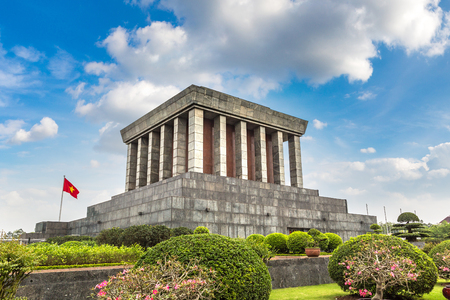 Ho Chi Minh Mausoleum in Hanoi, Vietnam in a summer day