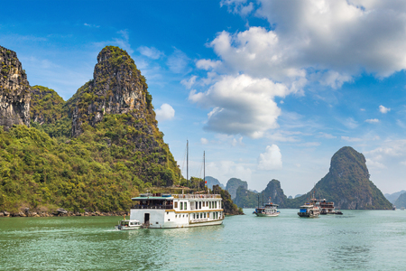 World natural heritage Halong bay, Vietnam in a summer day Stock Photo