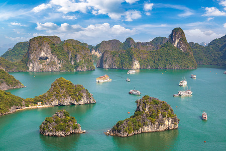 Panoramic aerial view of Halong bay, Vietnam in a summer day