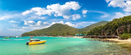 Panorama of Koh Lan island, Thailand in a summer day