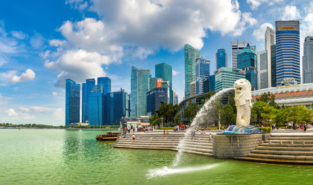 SINGAPORE - JUNE 23, 2018: Panorama of The Merlion fountain statue - symbol of Singapore at summer day