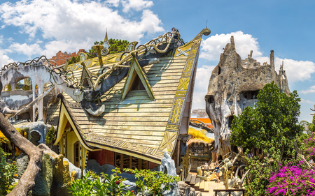 DA LAT, VIETNAM - JUNE 19, 2018: Panorama of Crazy House (Hang Nga guesthouse) in Dalat, Vietnam in a summer day