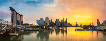 Panorama of Marina Bay Sands and Helix Bridge and Museum of Art and Science in Singapore at summer day