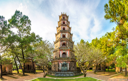 Panorama of Thien Mu Pagoda in Hue, Vietnam in a summer day