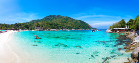 Panorama of Racha (Raya) resort island near Phuket island, Thailand in a summer day
