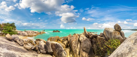 Panorama of Lamai Beach on Koh Samui island, Thailand in a summer day