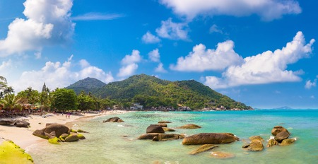 Panorama of Silver Beach on Koh Samui island, Thailand in a summer day