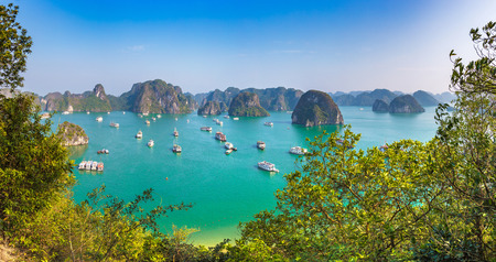 Panorama of Halon bay, Vietnam in a summer day