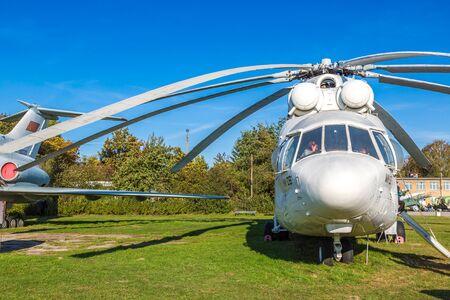 KIEV, UKRAINE - OCTOBER 6, 2018: Soviet helicopter mi-26 in colors United Nations in Kiev National Aviation Museum in a sunny day  in Kiev, Ukraine