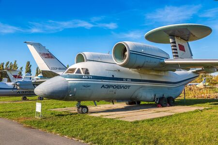 KIEV, UKRAINE - OCTOBER 6, 2018: AN-71 AWACS aircraft - Military force air flying radar in Kiev National Aviation Museum in Kiev, Ukraine Редакционное