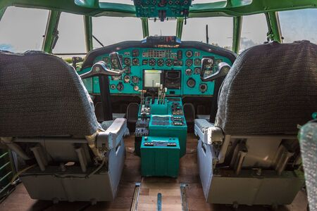 KIEV, UKRAINE - OCTOBER 6, 2018: Soviet Tu 134 cockpit in Kiev National Aviation Museum in Kiev, Ukraine