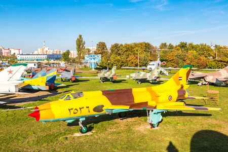 KIEV, UKRAINE - OCTOBER 6, 2018: Military airplane in Kiev National Aviation Museum in a sunny day next to Zhulyany Airport in Kiev, Ukraine