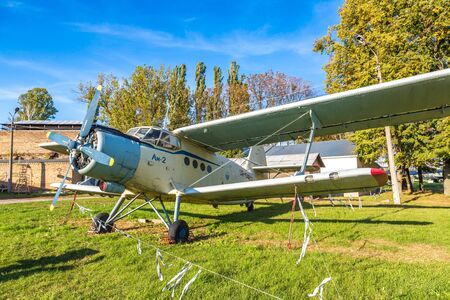 KIEV, UKRAINE - OCTOBER 6, 2018: Biplane in Kiev National Aviation Museum in a sunny day next to Zhulyany Airport in Kiev, Ukraine Редакционное