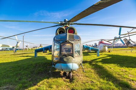 KIEV, UKRAINE - OCTOBER 6, 2018: Helicopter in Kiev National Aviation Museum in a sunny day next to Zhulyany Airport in Kiev, Ukraine Редакционное