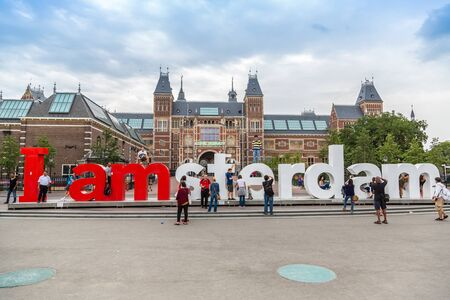 AMSTERDAM, NETHERLANDS - AUGUST 19, 2014:   Rijksmuseum Amsterdam museum with words I Amsterdam on August 19, 2014 Editorial