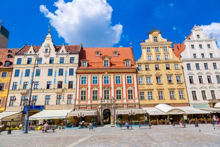 WROCLAW, POLAND - JULY 29, 2014: City center and Market Square in Wroclaw, Poland on July 29, 2014. Wroclaw old and a very beautuful city in Poland in a summer day