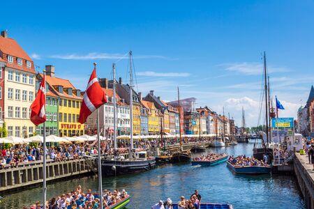 COPENHAGEN, DENMARK - JULY 25, 2014: Nyhavn district in Copenhagen Denmark