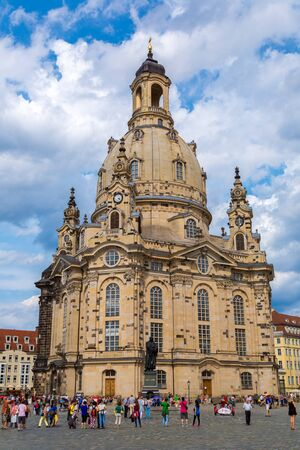 DRESDEN, GERMANY - JULY 11, 2014: Dresden and Frauenkirche church in a beautiful summer day, Germany on July 11, 2014