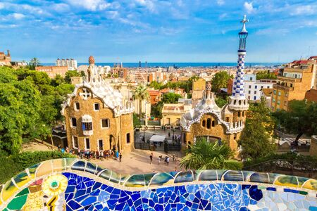 BARCELONA, SPAIN - JUNE 11, 2014: Park Guell by architect Gaudi in a summer day in Barcelona, Spain. Editorial