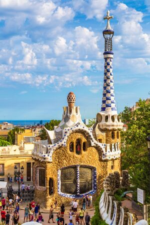 BARCELONA, SPAIN - JUNE 11, 2014: Park Guell by architect Gaudi in a summer day on June 11, 2014 in Barcelona, Spain.