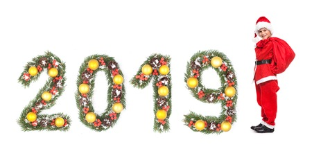 Boy holding a sack isolated on white background. 2019 New Year greeting